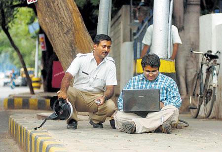 Laptop on Road